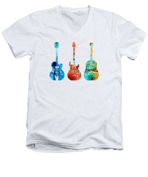 Men's V-Neck T-Shirt featuring the painting Abstract Guitars By Sharon Cummings by Sharon Cummings