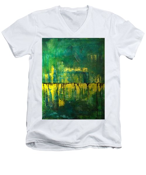 Abstract In Yellow And Green Men's V-Neck T-Shirt by Jocelyn Friis