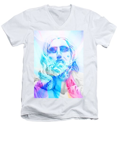 Men's V-Neck T-Shirt featuring the painting Abstract Jesus 3 by J- J- Espinoza