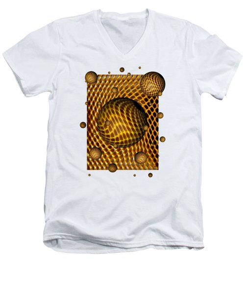 Men's V-Neck T-Shirt featuring the digital art Abstract - Life Grid by Glenn McCarthy Art and Photography