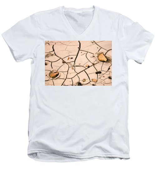 Abstract Mud Flat Pink Saturated Men's V-Neck T-Shirt