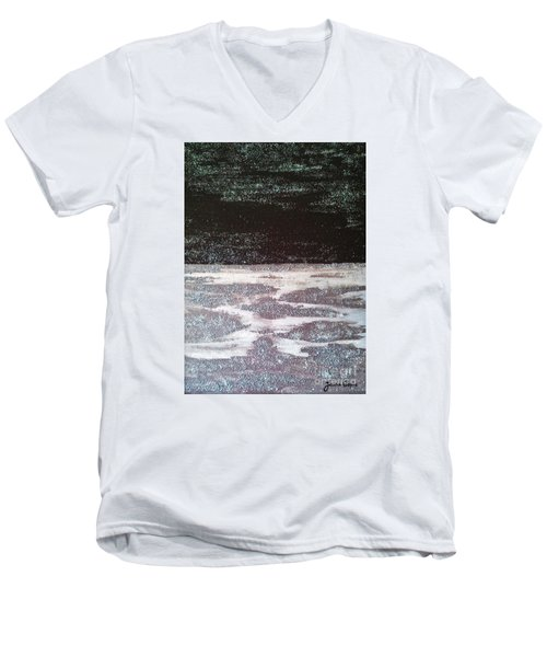 Men's V-Neck T-Shirt featuring the painting Abstract Nail Polish Jg7 by Jasna Gopic