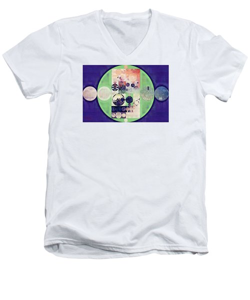 Men's V-Neck T-Shirt featuring the digital art Abstract Painting - Blanc by Vitaliy Gladkiy
