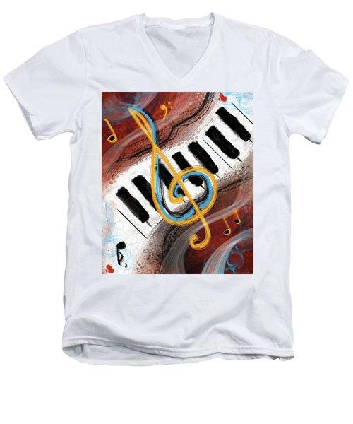 Abstract Piano Concert Men's V-Neck T-Shirt