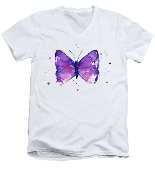 Abstract Purple Butterfly Watercolor Men's V-Neck T-Shirt