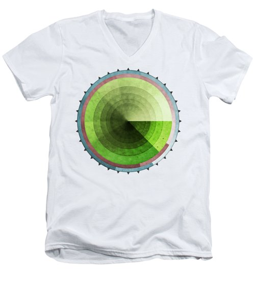 Abstract Rings Of Green Men's V-Neck T-Shirt by Phil Perkins