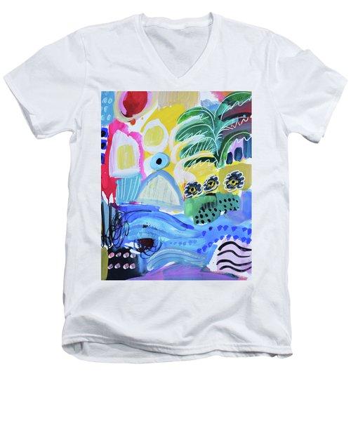Abstract Tropical Landscape Men's V-Neck T-Shirt