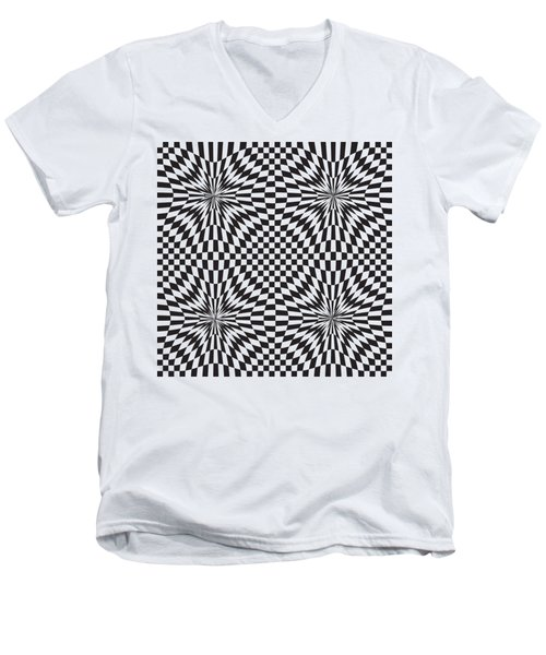 Abstract Vector Pattern Men's V-Neck T-Shirt