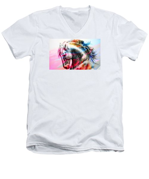Men's V-Neck T-Shirt featuring the painting Abstract White Horse 45 by J- J- Espinoza