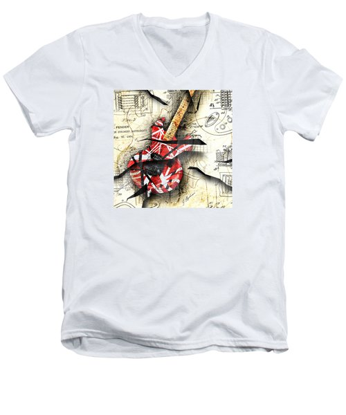 Abstracta 35 Eddie's Guitar Men's V-Neck T-Shirt by Gary Bodnar