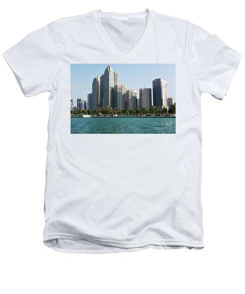 Men's V-Neck T-Shirt featuring the photograph Abu Dhabi by Hanza Turgul