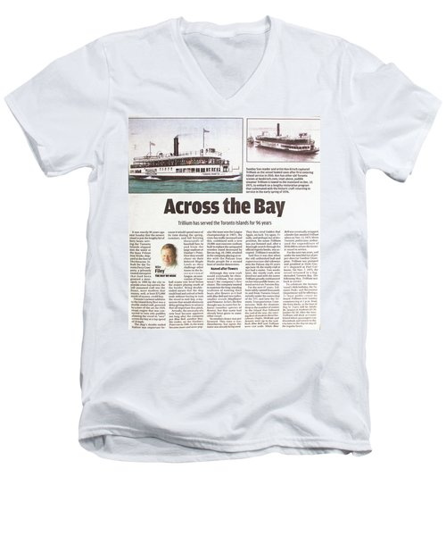 Men's V-Neck T-Shirt featuring the painting Toronto Sun Article Across The Bay by Kenneth M Kirsch