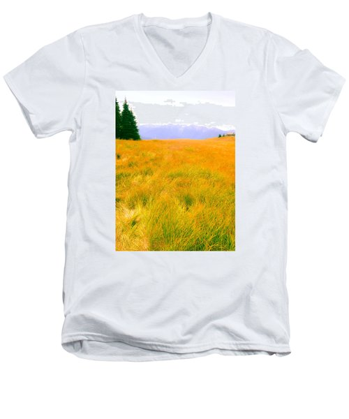 Men's V-Neck T-Shirt featuring the photograph Across The Summer Meadow by Ronda Broatch