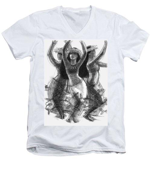 Action Song Dancers With Fish Pareu Men's V-Neck T-Shirt