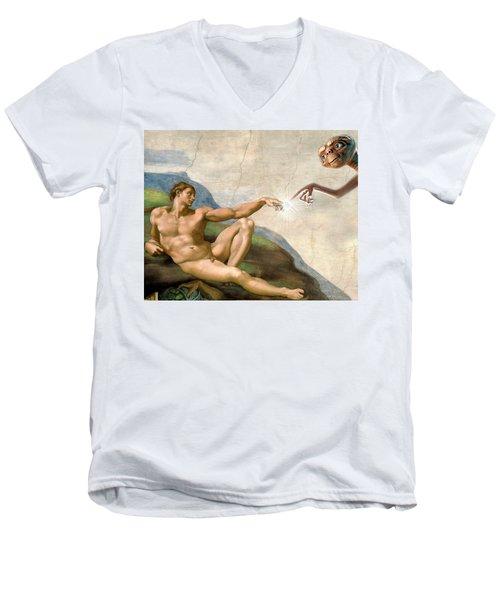 Men's V-Neck T-Shirt featuring the digital art Adam's Creation Vrs Et by Gina Dsgn