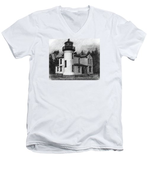 Admiralty Head Lighthouse Sketched Men's V-Neck T-Shirt