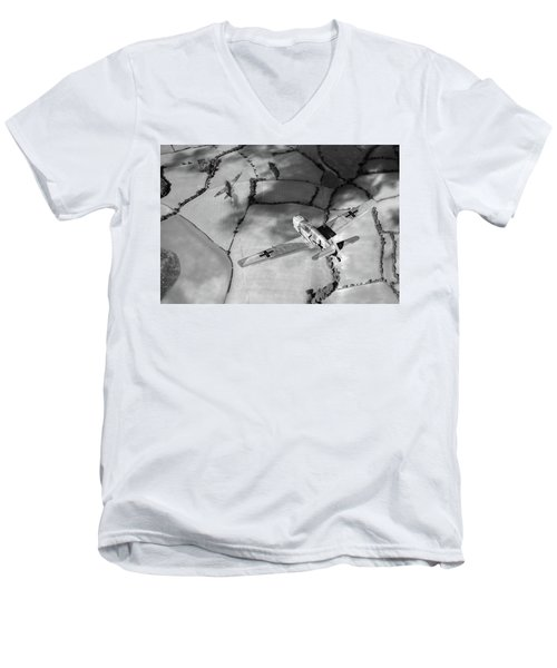 Men's V-Neck T-Shirt featuring the photograph Adolf Galland Attacking Spitfire Bw Version by Gary Eason