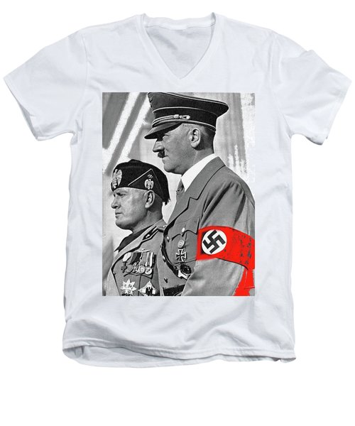 Adolf Hitler And Fellow Fascist Dictator Benito Mussolini October 26 1936 Number Three Color Added  Men's V-Neck T-Shirt