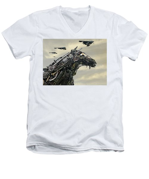 Advance Of The Machines Men's V-Neck T-Shirt by Christopher McKenzie