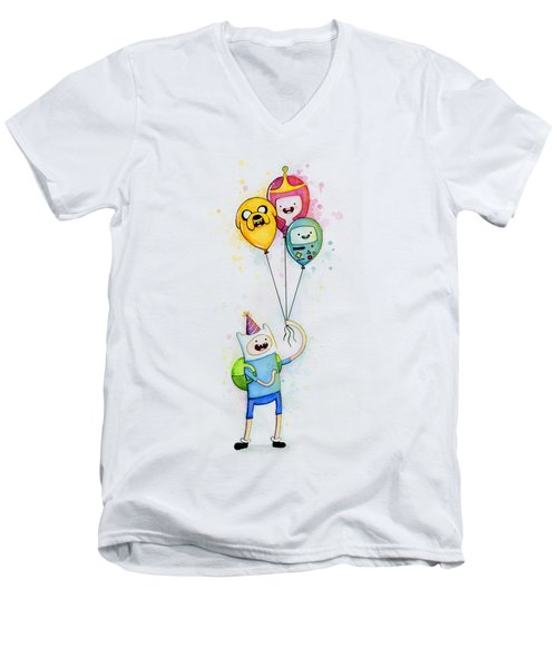 Adventure Time Finn With Birthday Balloons Jake Princess Bubblegum Bmo Men's V-Neck T-Shirt