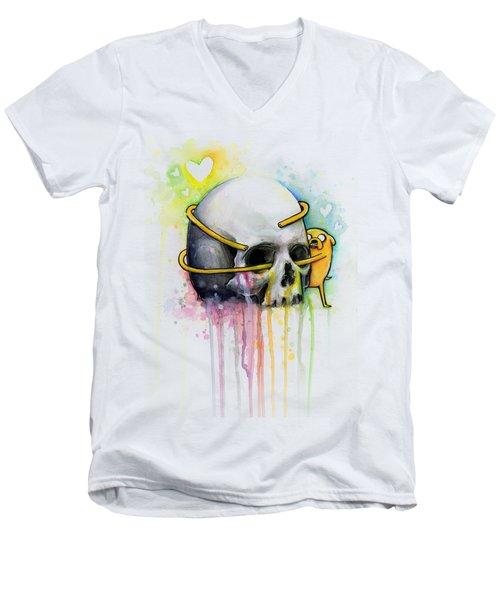 Adventure Time Jake Hugging Skull Watercolor Art Men's V-Neck T-Shirt