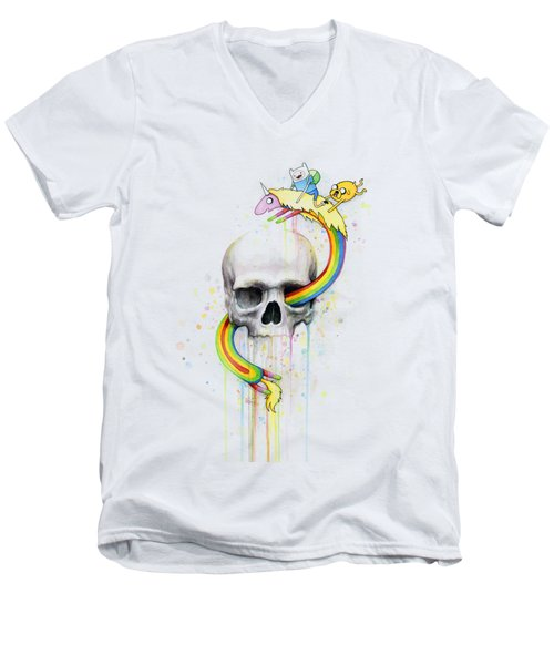 Adventure Time Skull Jake Finn Lady Rainicorn Watercolor Men's V-Neck T-Shirt