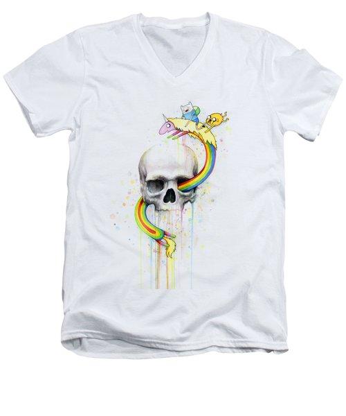 Adventure Time Skull Jake Finn Lady Rainicorn Watercolor Men's V-Neck T-Shirt