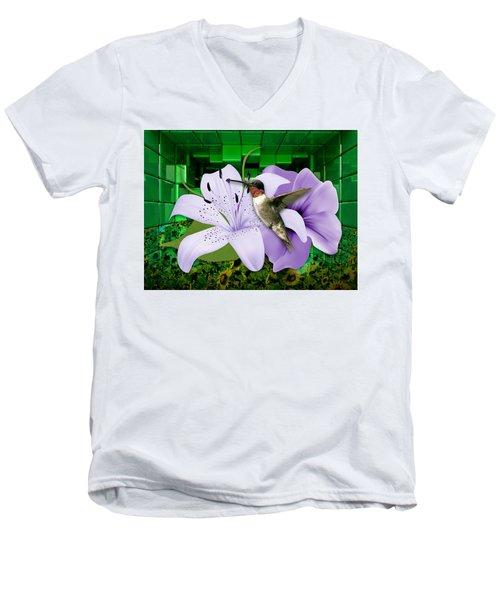 Men's V-Neck T-Shirt featuring the mixed media Aeronautics Humming Bird by Marvin Blaine
