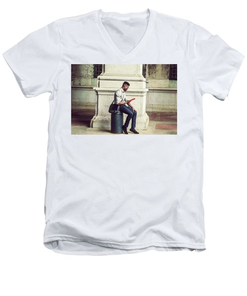 African American College Student Studying In New York Men's V-Neck T-Shirt