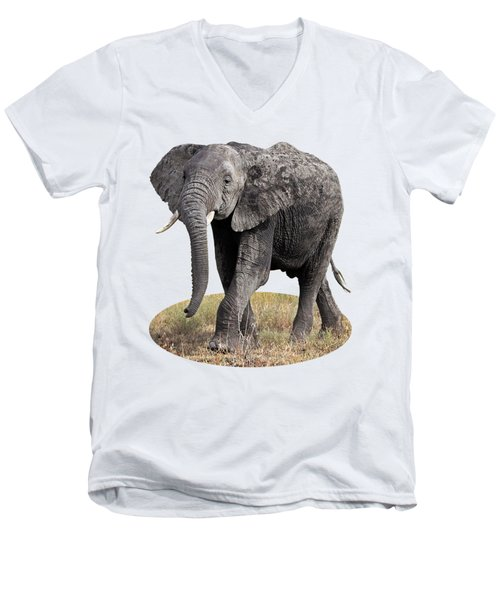 Men's V-Neck T-Shirt featuring the photograph African Elephant Happy And Free by Gill Billington