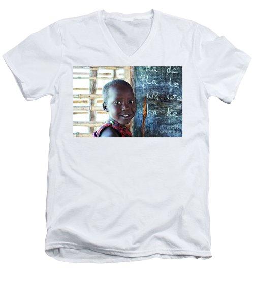 Maasai School Child Men's V-Neck T-Shirt