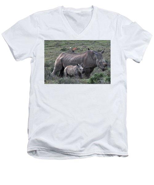 African White Rhino And Calf Men's V-Neck T-Shirt