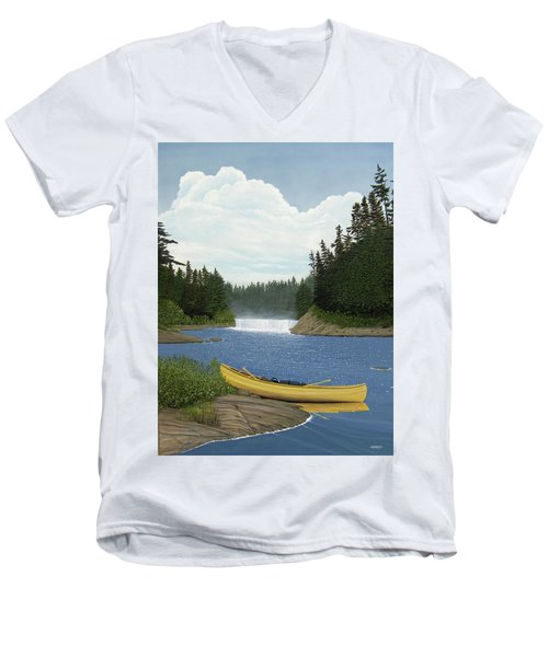 After The Rapids Men's V-Neck T-Shirt by Kenneth M  Kirsch