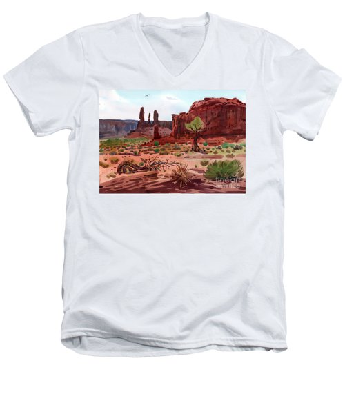 Afternoon In Monument Valley Men's V-Neck T-Shirt by Donald Maier