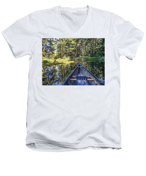 Men's V-Neck T-Shirt featuring the photograph Afternoon Paddle by William Wyckoff