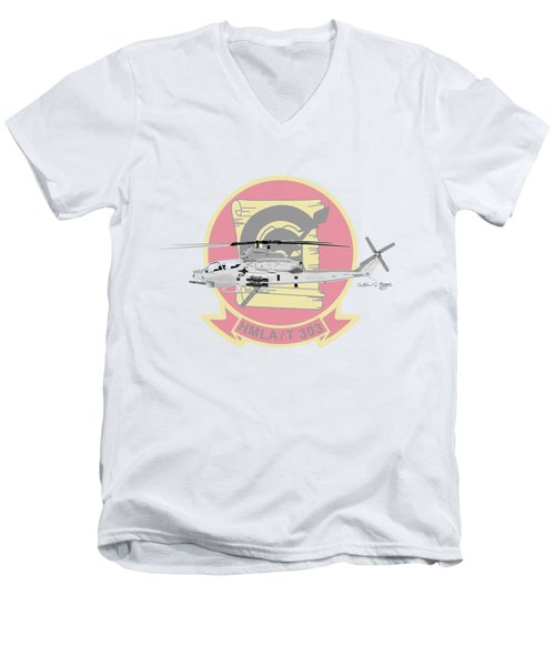 Men's V-Neck T-Shirt featuring the digital art Ah-1z Viper by Arthur Eggers