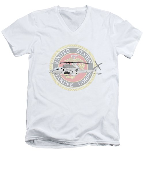 Men's V-Neck T-Shirt featuring the digital art Ah-1z Viper Usmc by Arthur Eggers