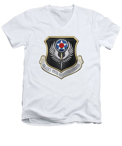 Air Force Special Operations Command -  A F S O C  Shield Over White Leather Men's V-Neck T-Shirt by Serge Averbukh