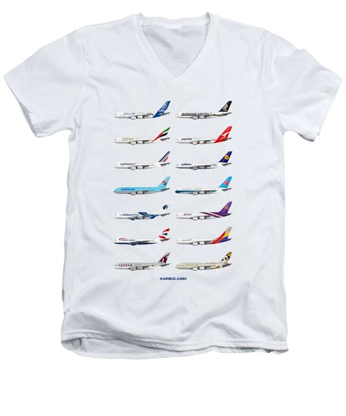 Airbus A380 Operators Illustration Men's V-Neck T-Shirt