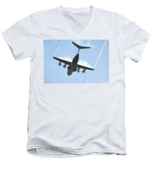 Airbus A400m Men's V-Neck T-Shirt by Tim Beach