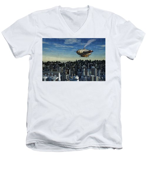 Airship Over Future City Men's V-Neck T-Shirt by Ken Morris