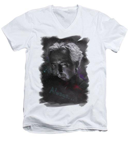 Men's V-Neck T-Shirt featuring the drawing Alan Rickman by Julia Art