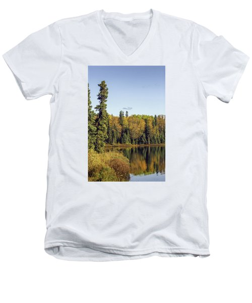 Alaskan Lake In Autumn Men's V-Neck T-Shirt