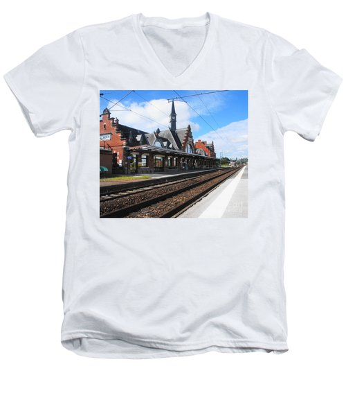 Men's V-Neck T-Shirt featuring the photograph Albert Train Station, France by Therese Alcorn