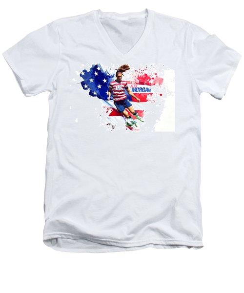 Alex Morgan Men's V-Neck T-Shirt by Semih Yurdabak