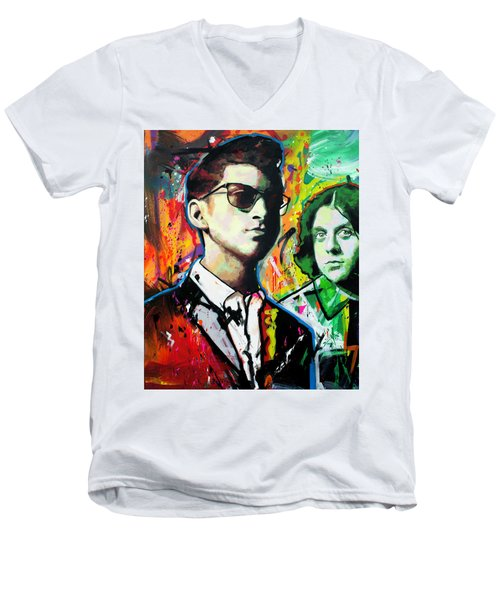 Men's V-Neck T-Shirt featuring the painting Alex Turner by Richard Day