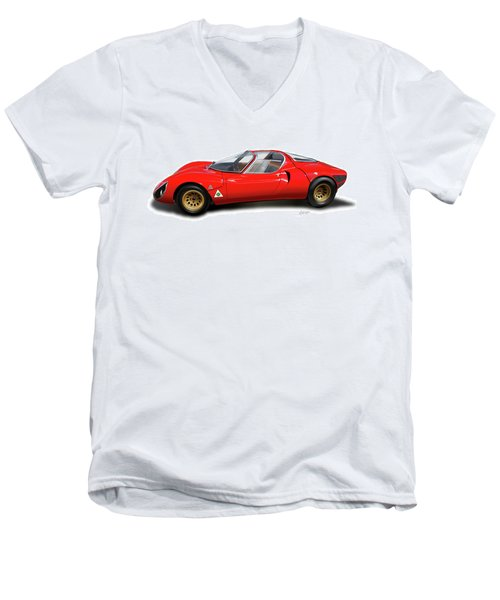 Alfa Romeo 33 Stradale 1967 Men's V-Neck T-Shirt by Alain Jamar