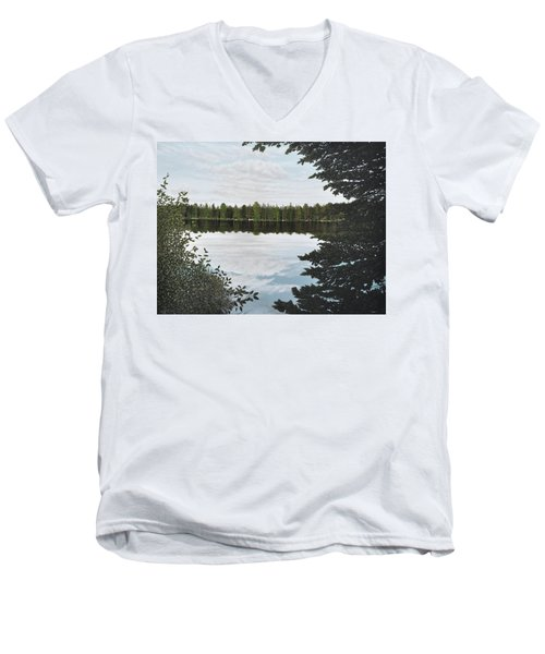 Men's V-Neck T-Shirt featuring the painting Algonquin Park by Kenneth M  Kirsch