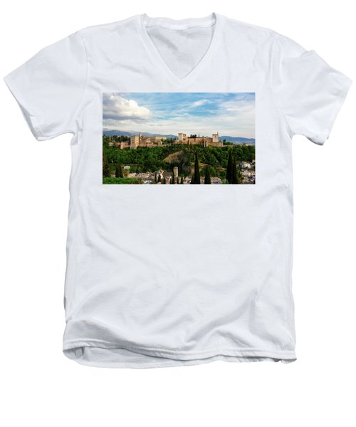 Alhambra In The Evening Men's V-Neck T-Shirt by Marion McCristall
