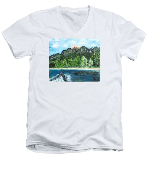 Alice Tubing On Hungry Horse  Reservoir Men's V-Neck T-Shirt
